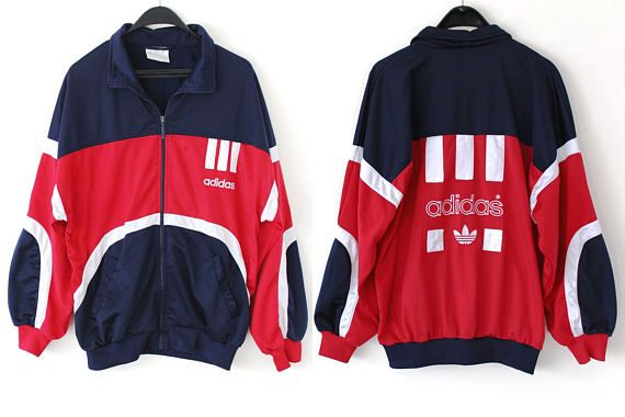 Vintage Adidas Windbreaker Blue Red Black Adidas Jacket Zip Up