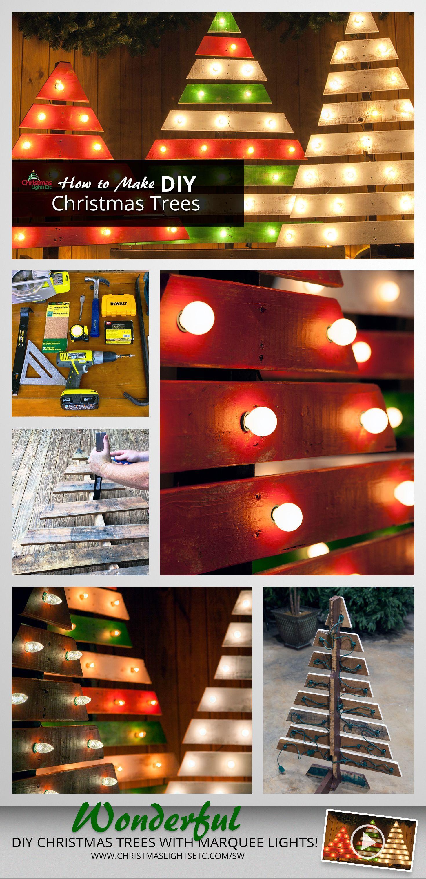 Diy outdoor christmas decorations  DIY Christmas Trees With Marquee Lights  Diy outdoor christmas