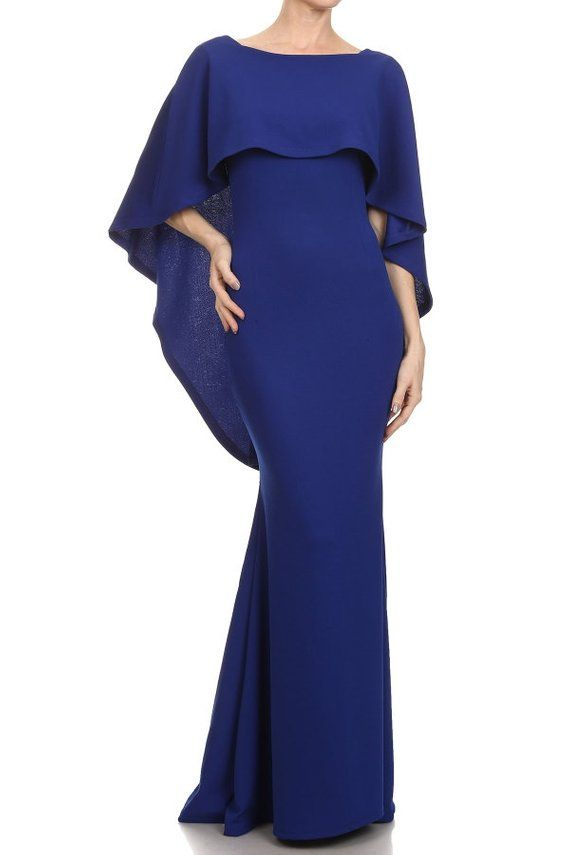 9a1abad9026 Maternity Dress With Cape Navy Blue Photography Photoshoot Pregnancy Photo  Shoot Wedding Open Back L
