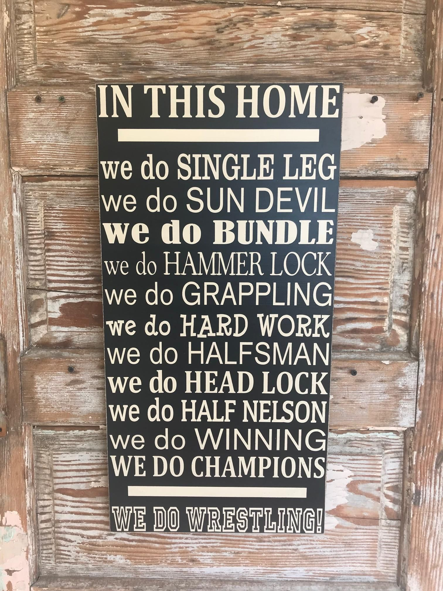 In This Home We Do Wrestling Wood Sign Wrestling Quotes Wood Signs Wrestling