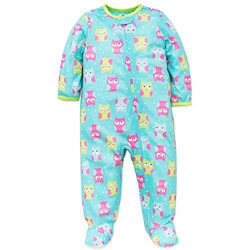 Little Me Baby Girls Owl Soft Zip Footie Pajamas Footed Sleeper Aqua Pink 18M