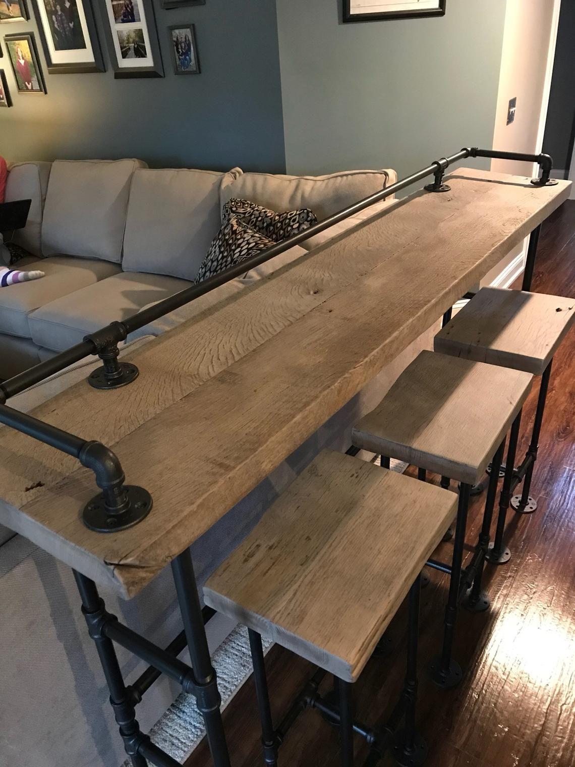 Rustic Gray Reclaimed Barn Wood Sofa Bar Table 7 Foot Etsy
