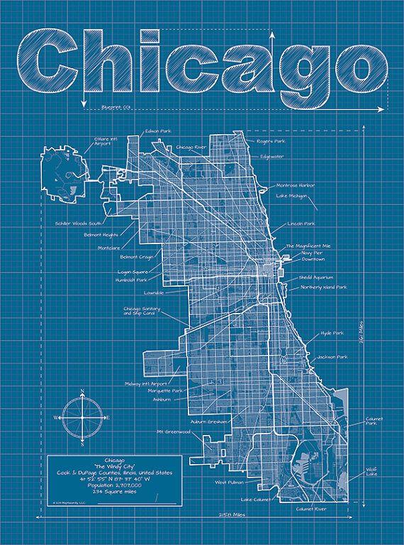 Chicago map original artwork chicago blueprint wall art chicago artistic blueprint map by maphazardly on etsy 3000 malvernweather Images