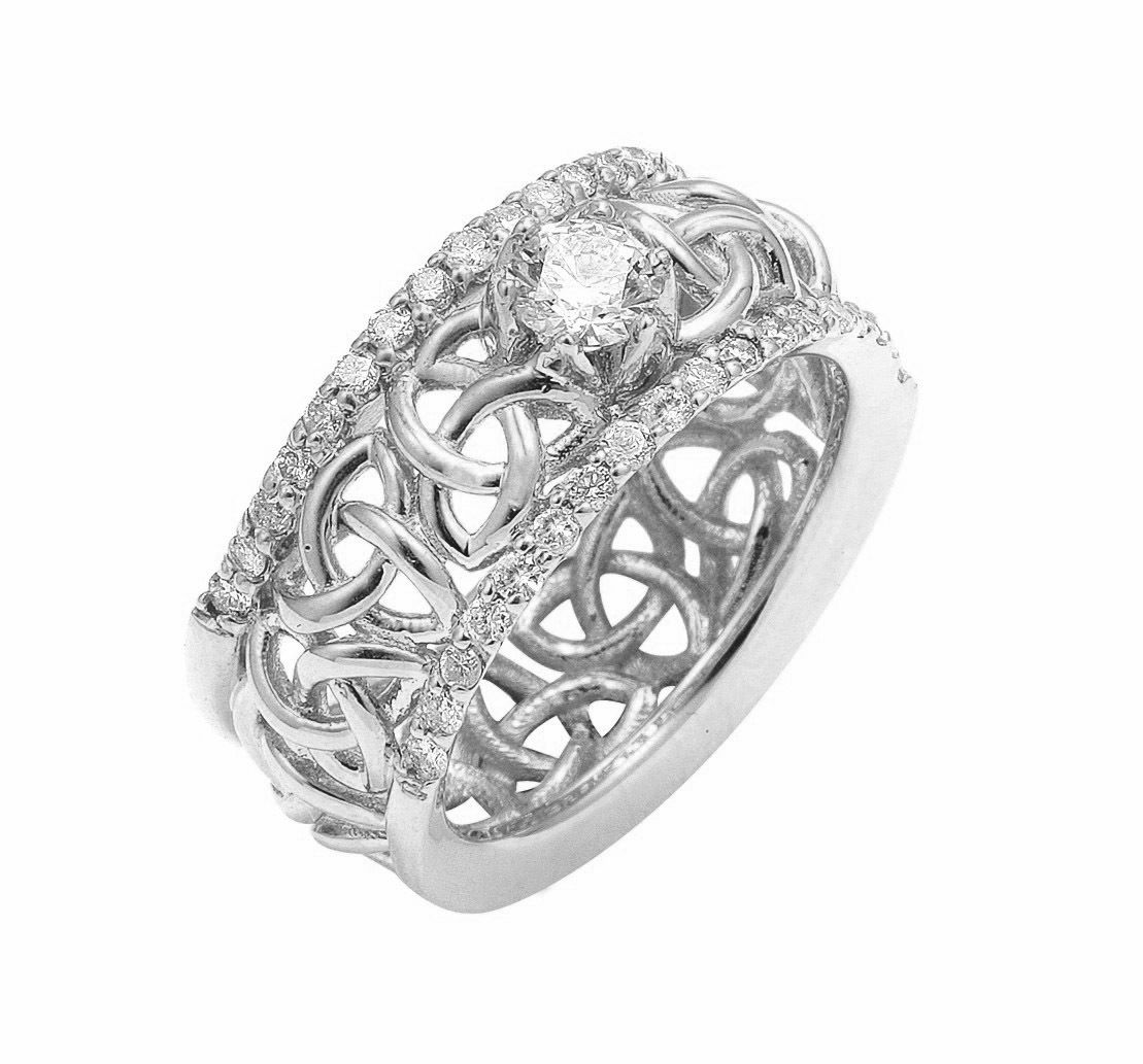 irish wedding ring White Gold Celtic Trinity Knot Diamond Wedding Ring