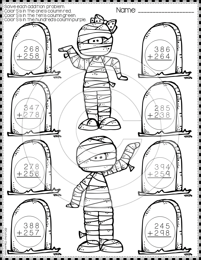 Halloween 3-Digit Addition with Regrouping Color-by-Code