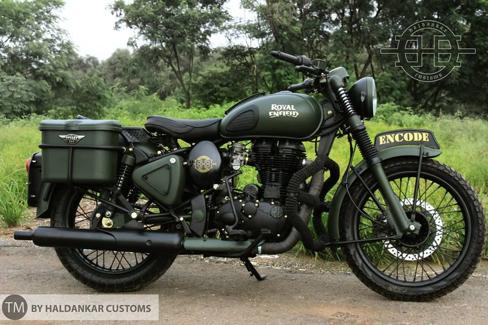 Military Green Paint Royal Enfield Classic 350 Haldarkar Customs Bullet Bike Royal Enfield Enfield Classic Royal Enfield Bullet