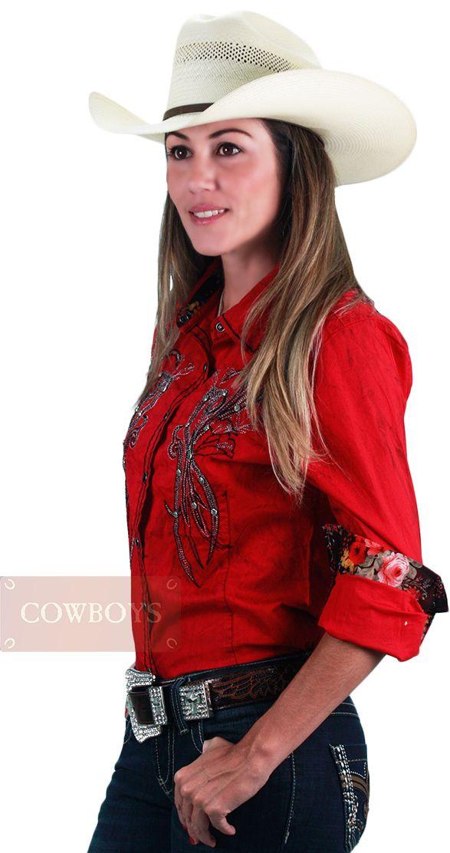 e2e9858555a5b Camisa Country Feminina Vermelha Roar Camisa feminina cor vermelha ...