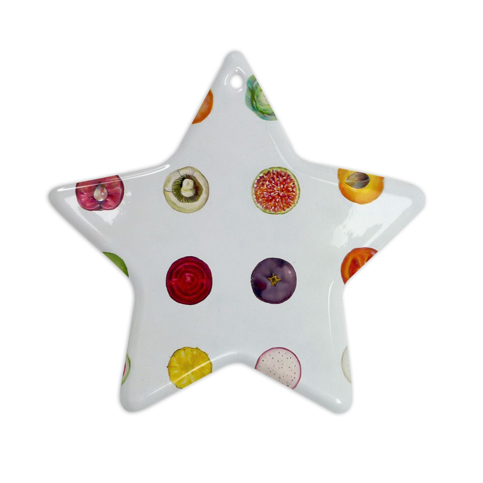 "Theresa Giolzetti ""Fruit"" Multicolor Food Ceramic Star Ornament"
