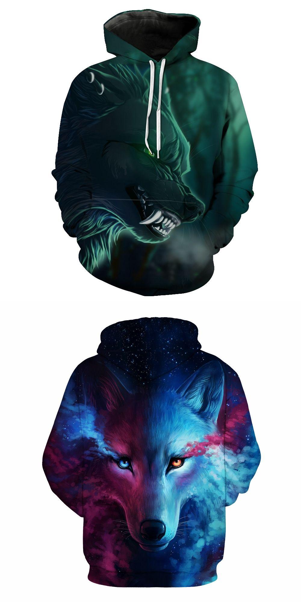 893f9c68344 2018 New Design Galaxy Space Wolf 3D Print Men Hoodies Sweatshirt Men  Pullover Fashion Tracksuits Animal hoodies Streetwear