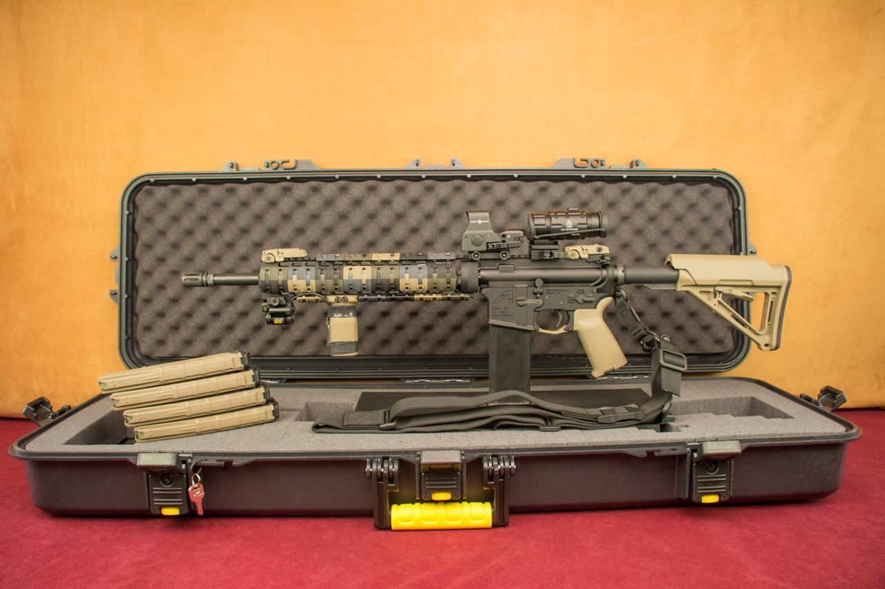 "Aero Precision 13"" Free Float Rail Magpul XTR Camo Left Side on Open Plano Case with Magpul Magazines"