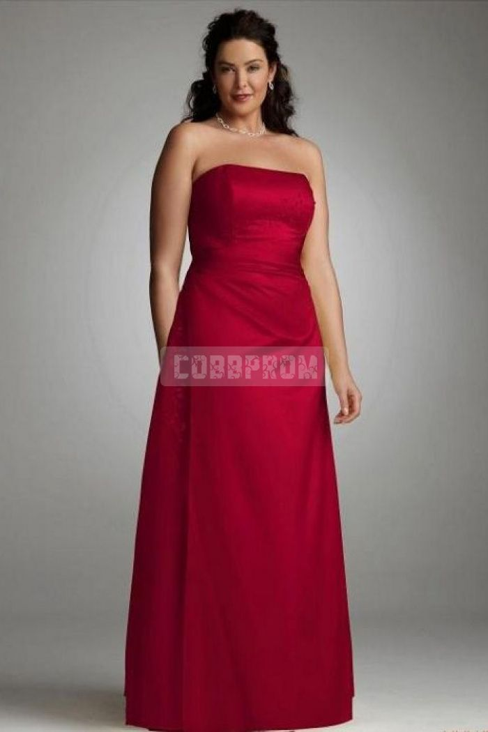 Red Plus Size A Line Satin Backless Bridesmaid Dress Prom