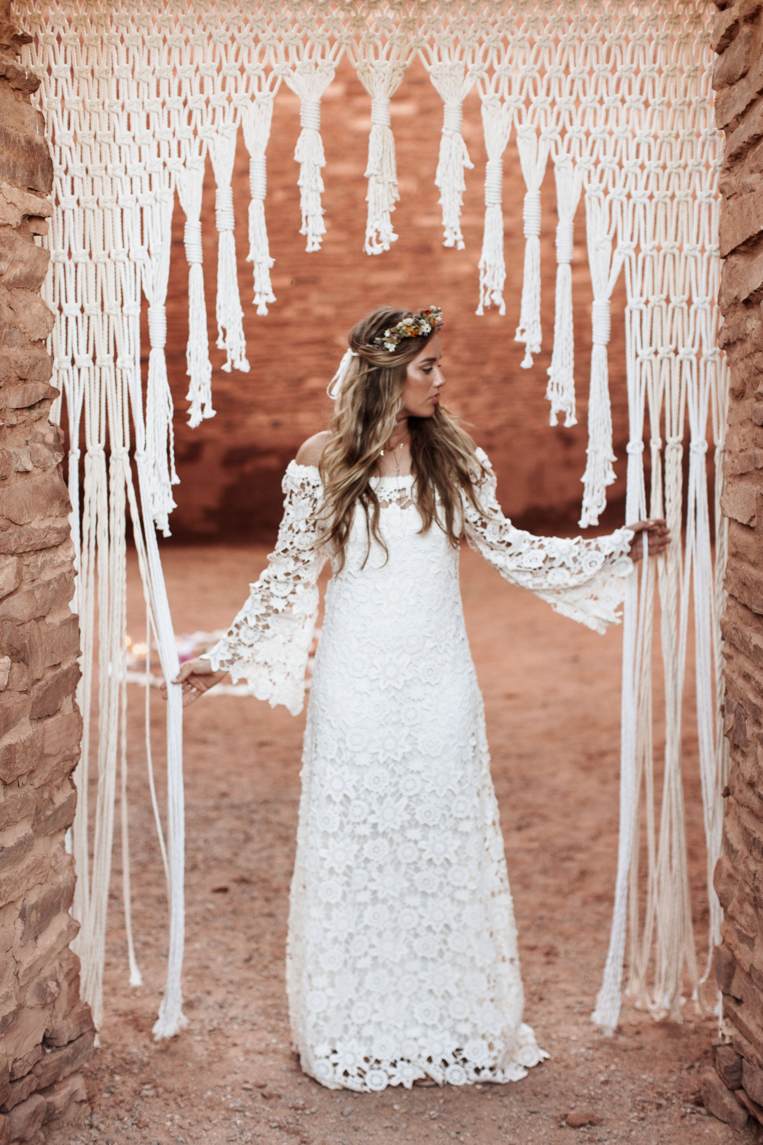 MacramÉ inspired wedding shoot at quarai ruins macrame wall