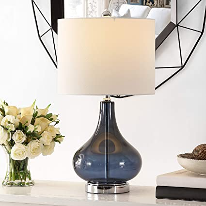 Safavieh Lighting Collection Brooks 24 Inch Blue Glass Table Lamp Led Bulb Included Tbl4254b Modern Glass Table Lamps Clear Glass Table Lamp Glass Table Lamp