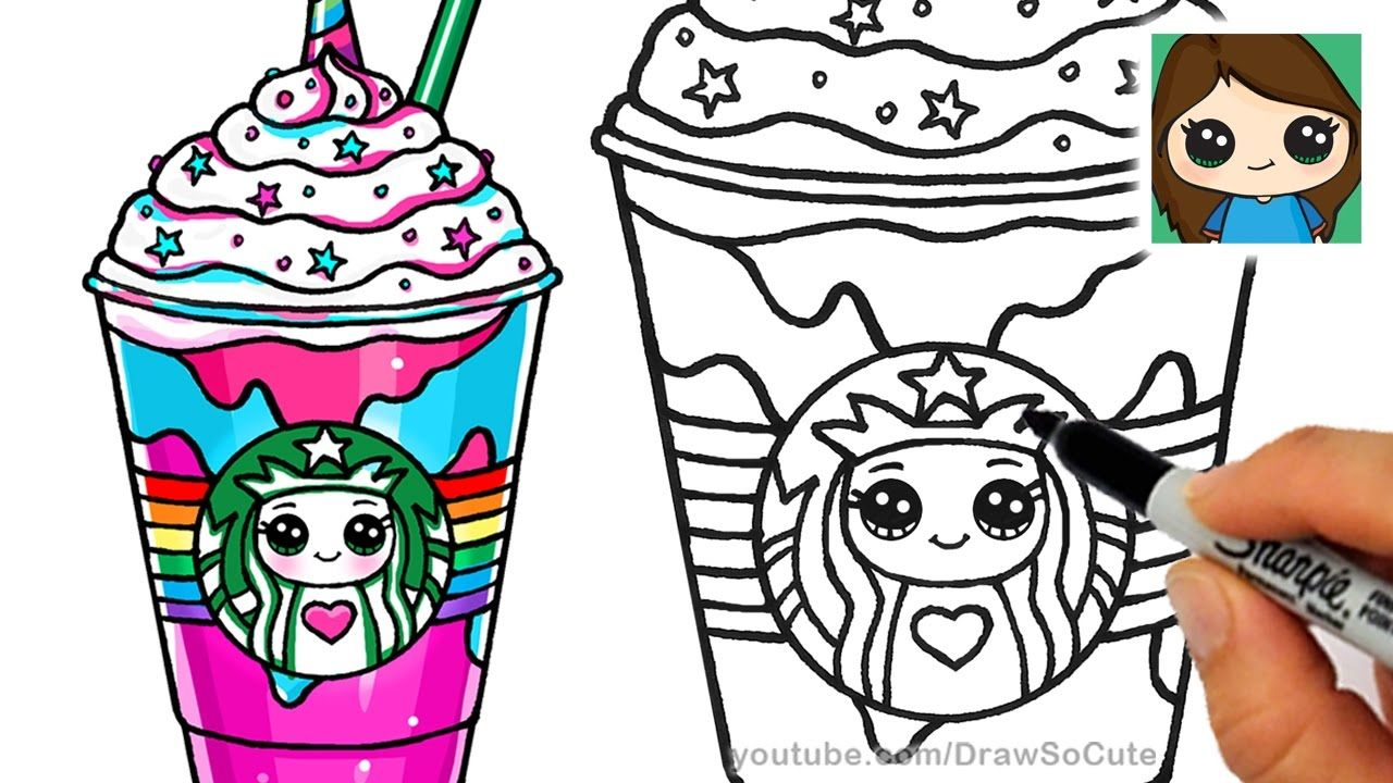 How To Draw A Starbucks Unicorn Frappuccino Cute Drawings Cute Coloring Pages Starbucks Drawing