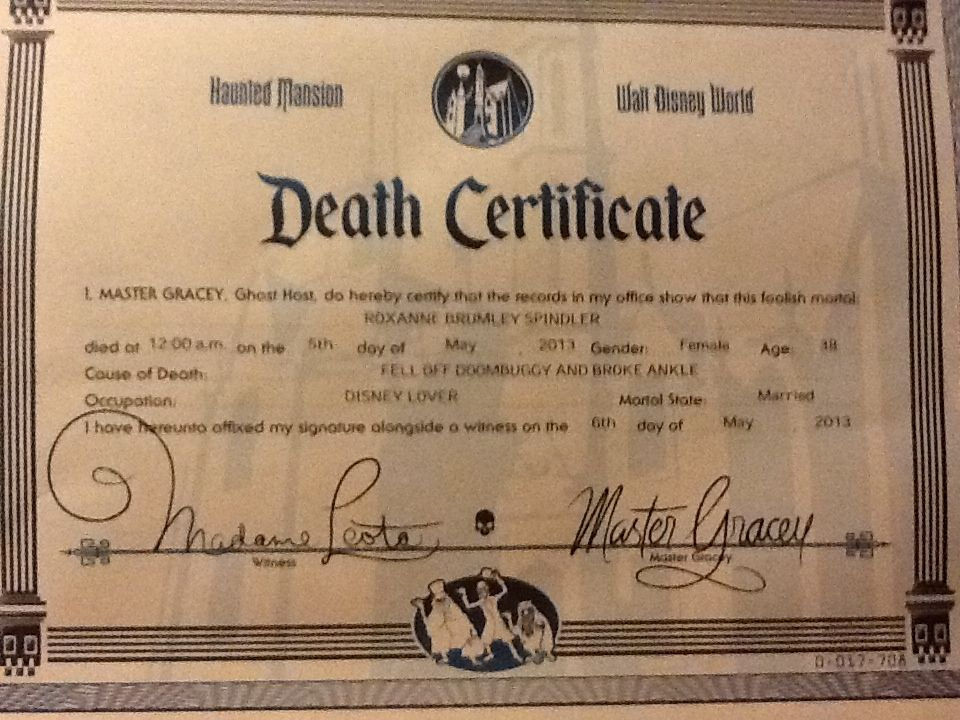 Haunted Mansion Google Death Certificate Funny Death By