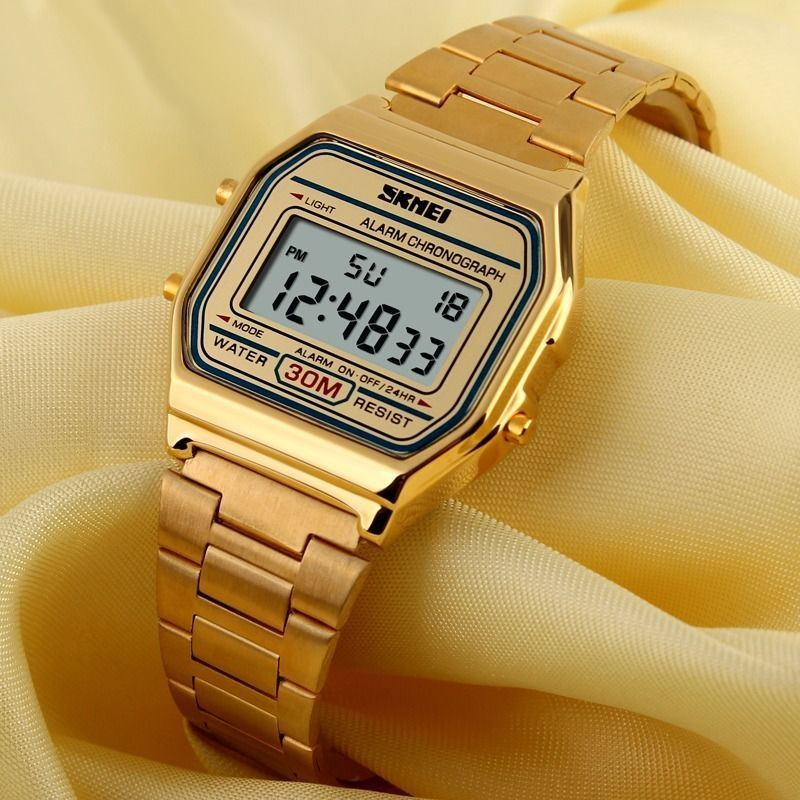90d4c2e94 Vintage Retro Gold Stainless Steel Digital Casual Watch Alarm Stopwatch Men  Lady