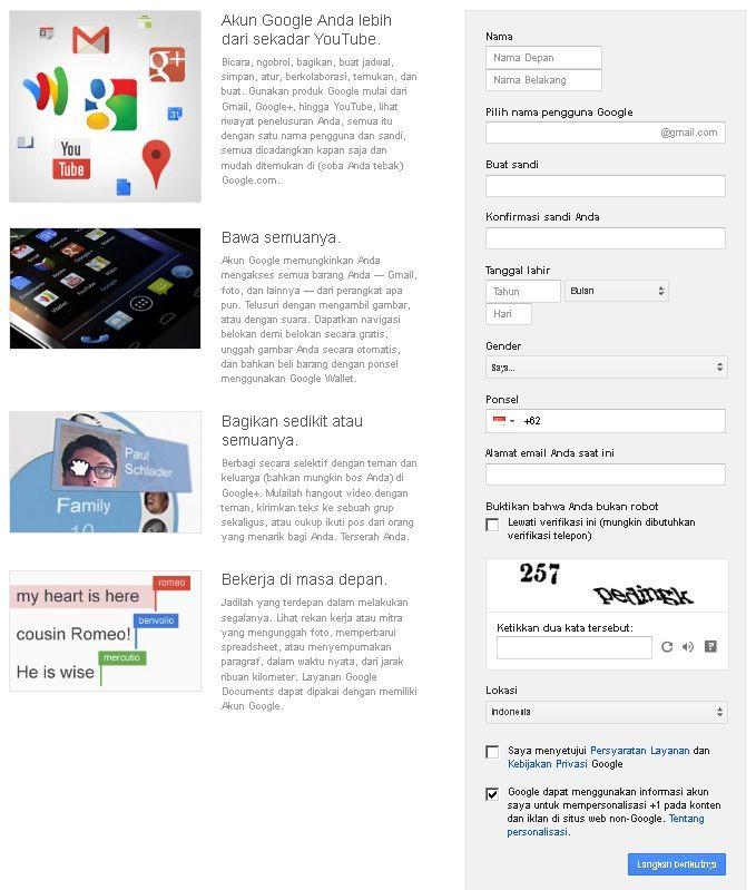 Cara buat akun Youtube Mendaftar dan Menggunakan situs