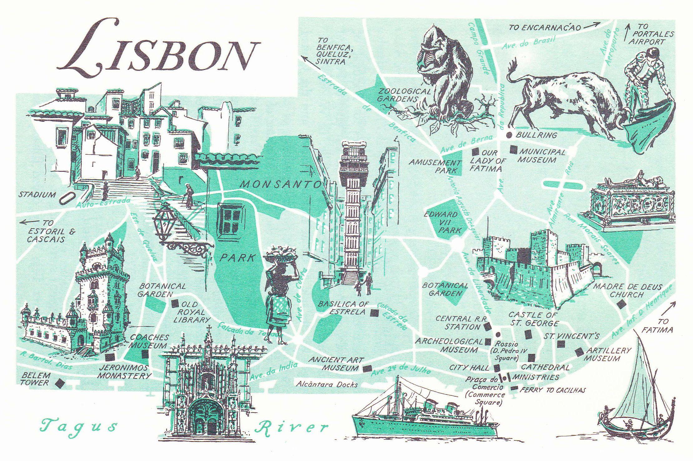 Old Map Of Lisbon Portugal Lisbon Maps Pinterest Mappen Europa Und Inseln