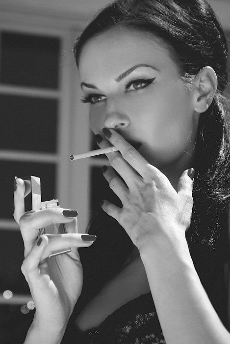 woman Black fetish smoking