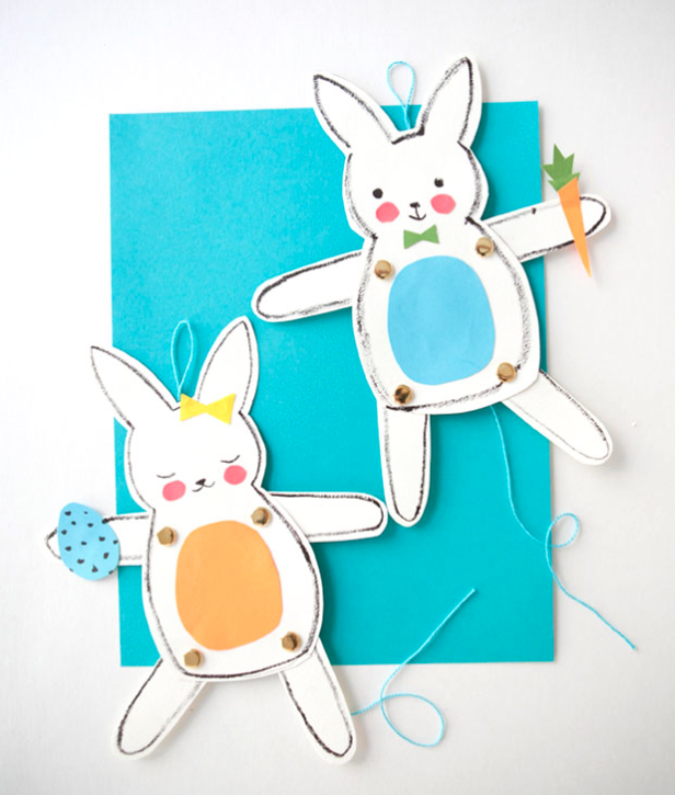 Easy Easter crafts for kids: bunny puppets by Oh Happy Day for Pottery Barn Kids