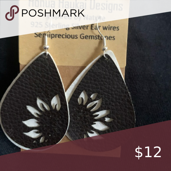 Honua Huakai Sterling silver earrings Nature Inspired Earrings 925 sterling silver earwires with white and black vegan leather with sunflowers Jewelry Earrings