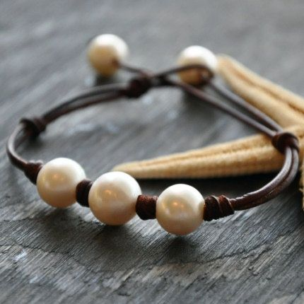 Leather+and+Pearls+Bracelet+Triune+by+nicholaslandon+on+Etsy,+$98.00