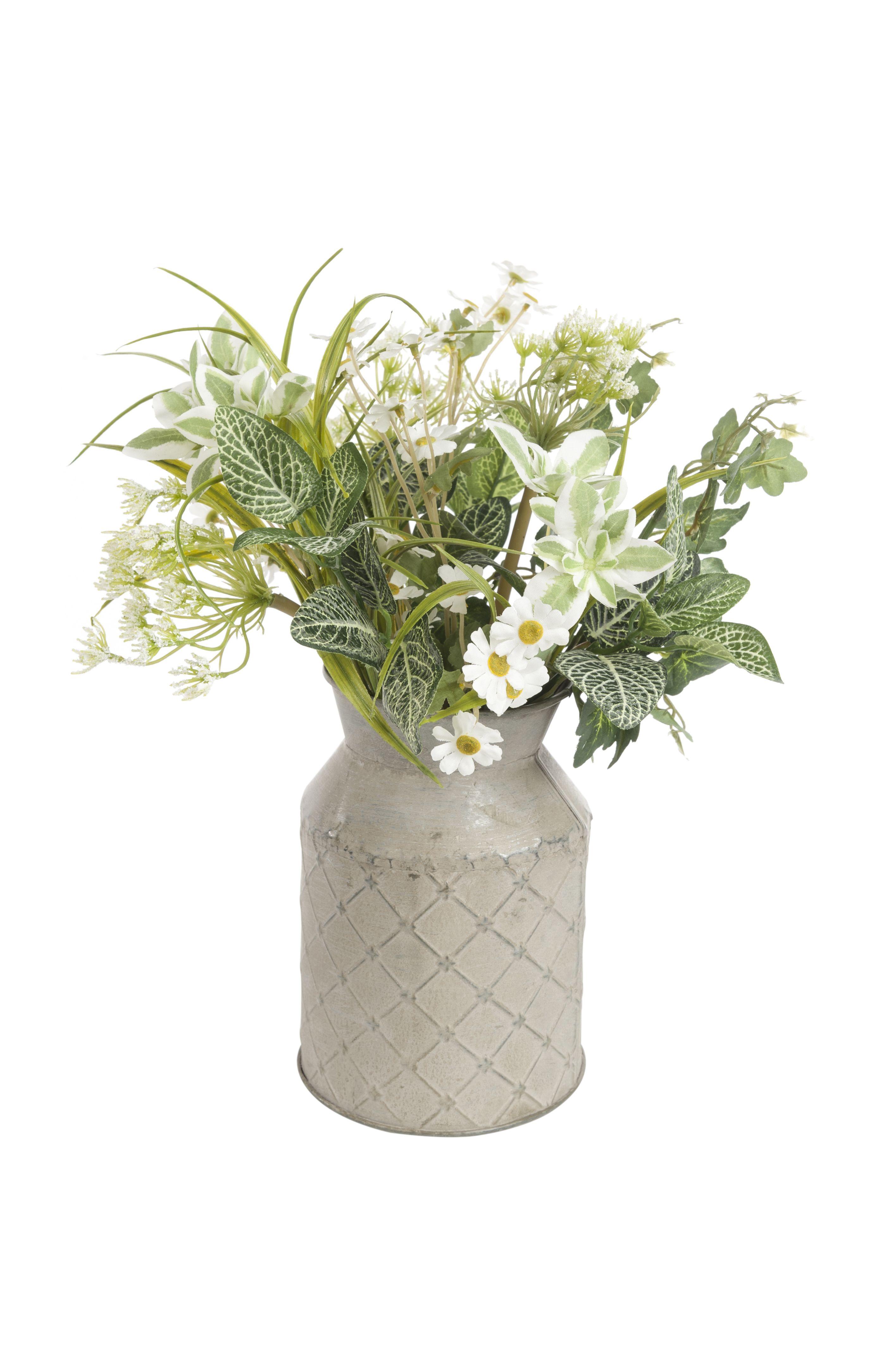 Artificial Silk Flower Arrangement Daisy Milk Churn Silk