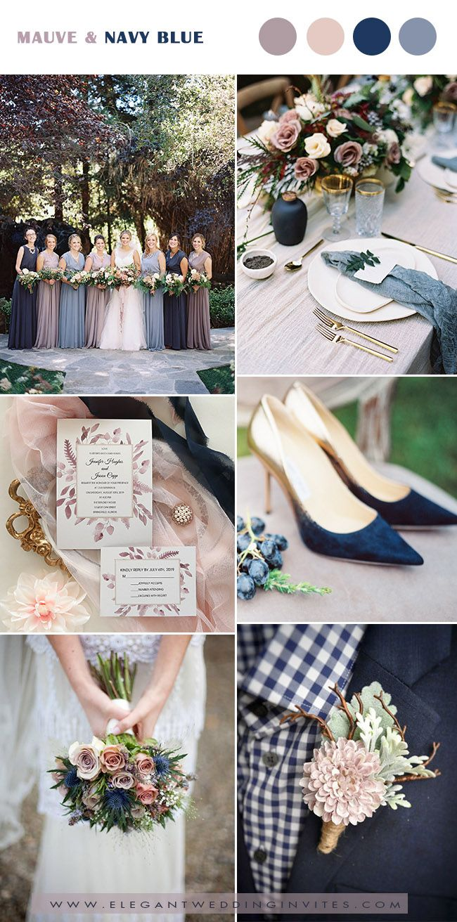 Blue and white wedding decor  Trending Pretty Mauve Wedding Color Combos for Fall u Winter  My