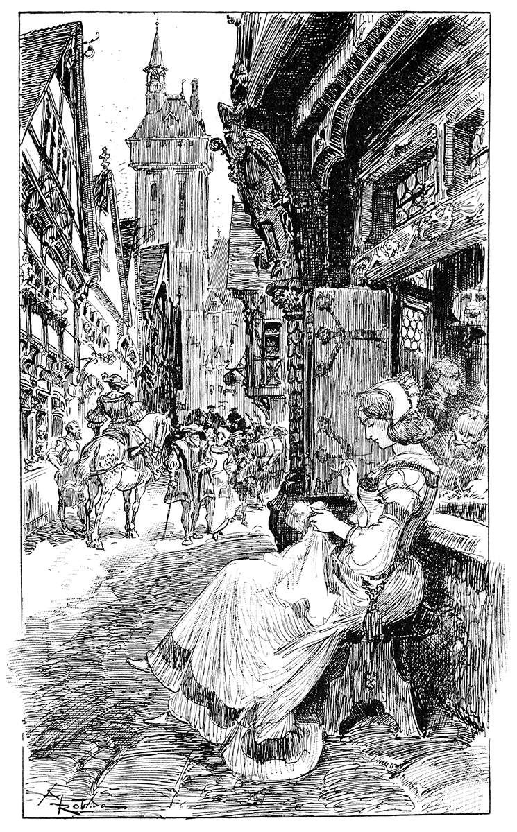 The Silversmith S Daughter Albert Robida From Black And White Stickers Illustration Black And White Books