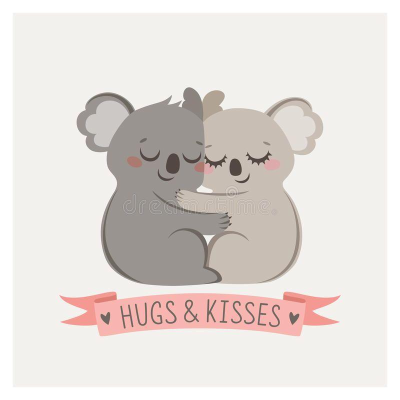Koala Hug Cute Card With Loving Couple Of Koalas Sponsored Cute Hug Koala Card Koalas Ad Koala Illustration Koala Drawing Hug Illustration