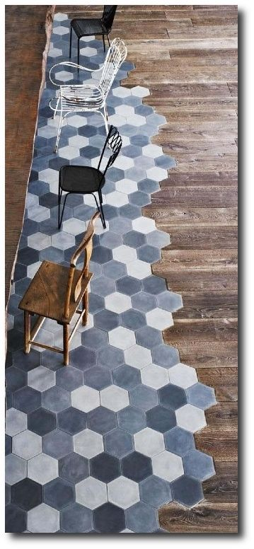 uneven transition from hexagon tiles to wood amazing