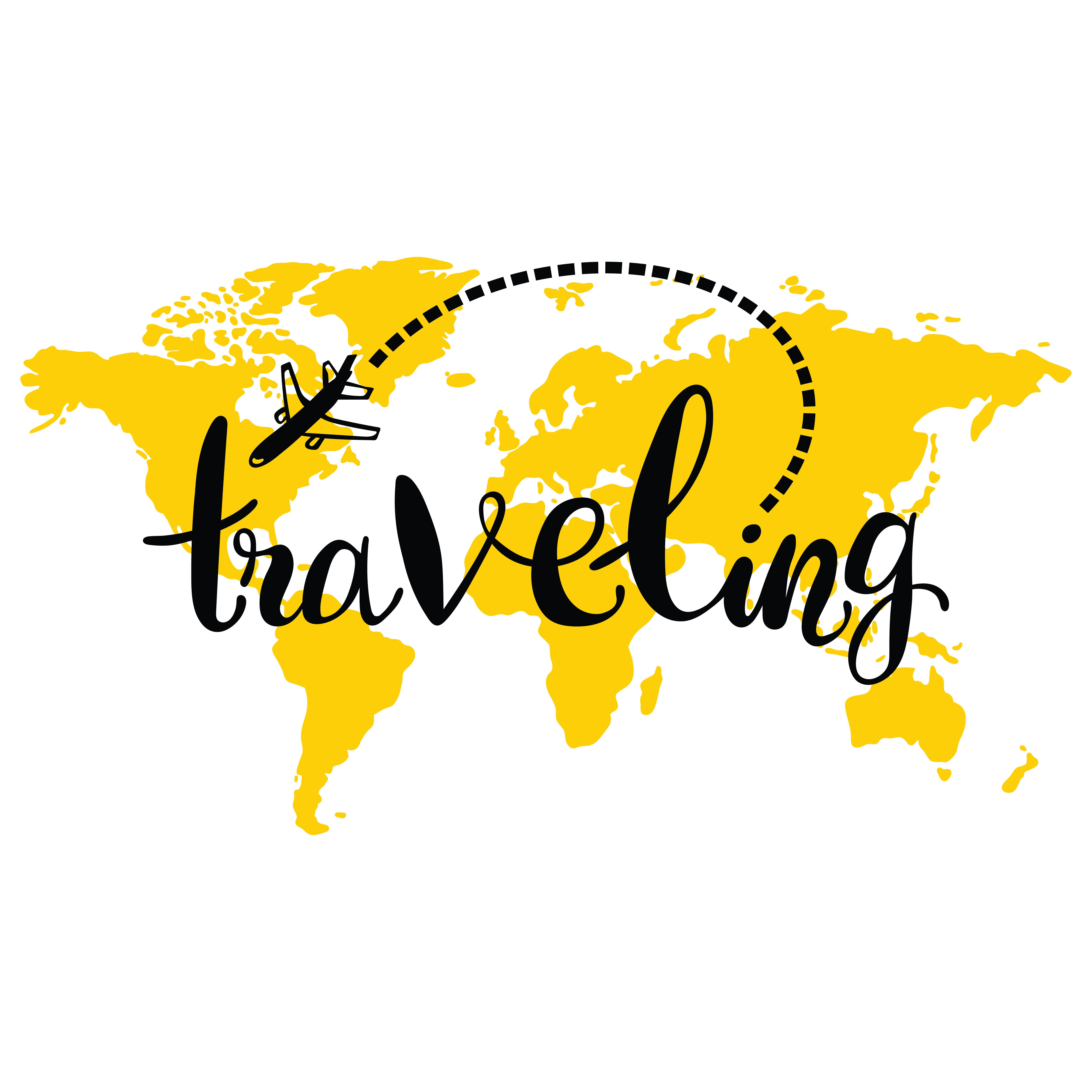 Traveling world map airplane isolated vector object on white ewanews portfolio on shutterstock gumiabroncs Images