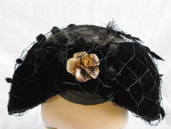 50's 60's Vintage Black Head Band Hat with by MyVintageHatShop, $30.00