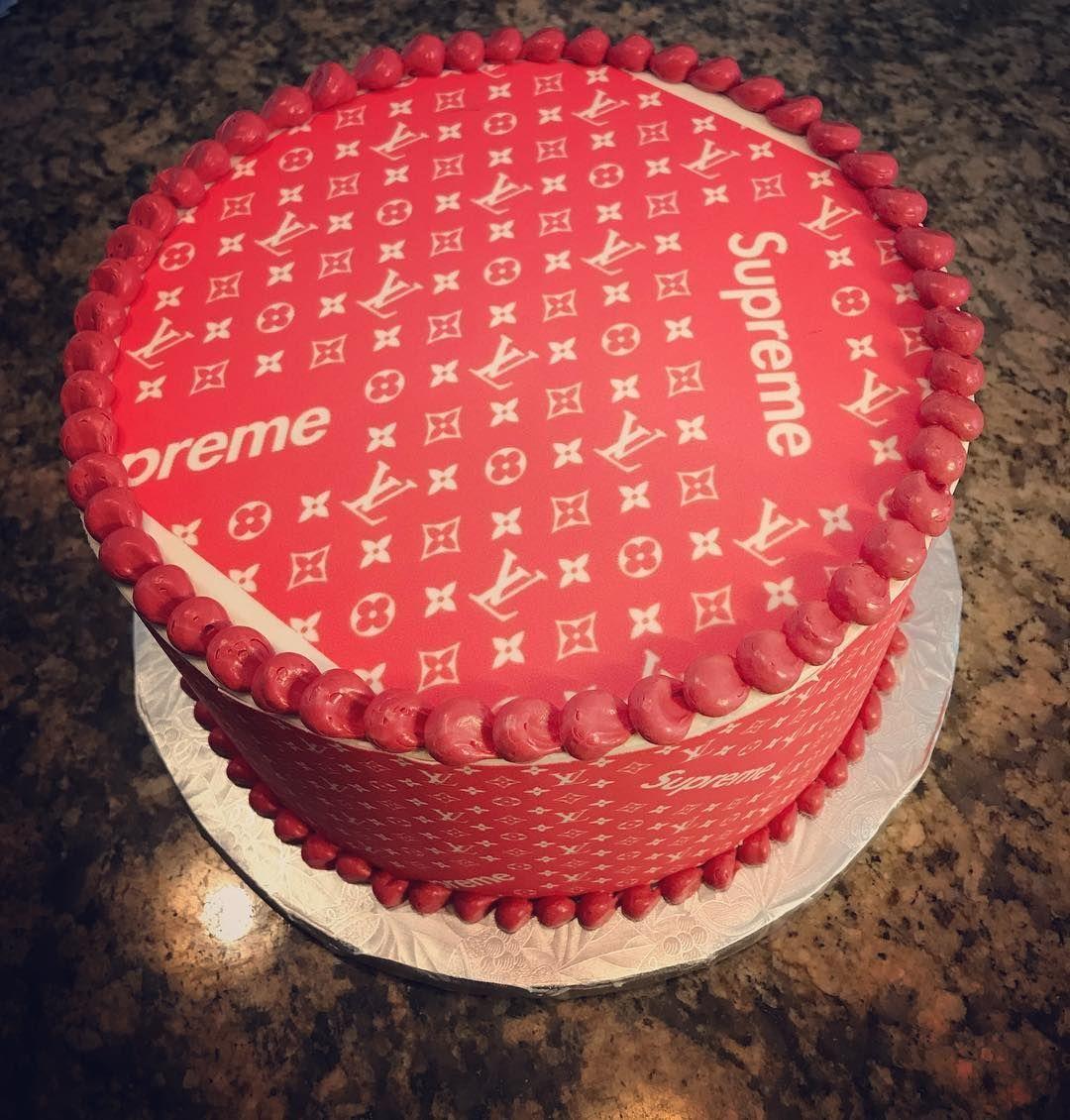 Louisvuitton Louisvuittonsupreme Customcake Edibleimage