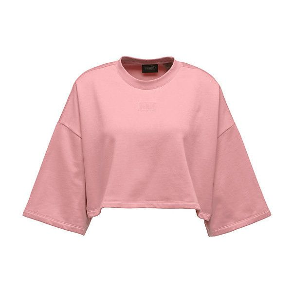 Cropped Crew Neck T-Shirt (2,980 PHP) ❤ liked on Polyvore featuring tops