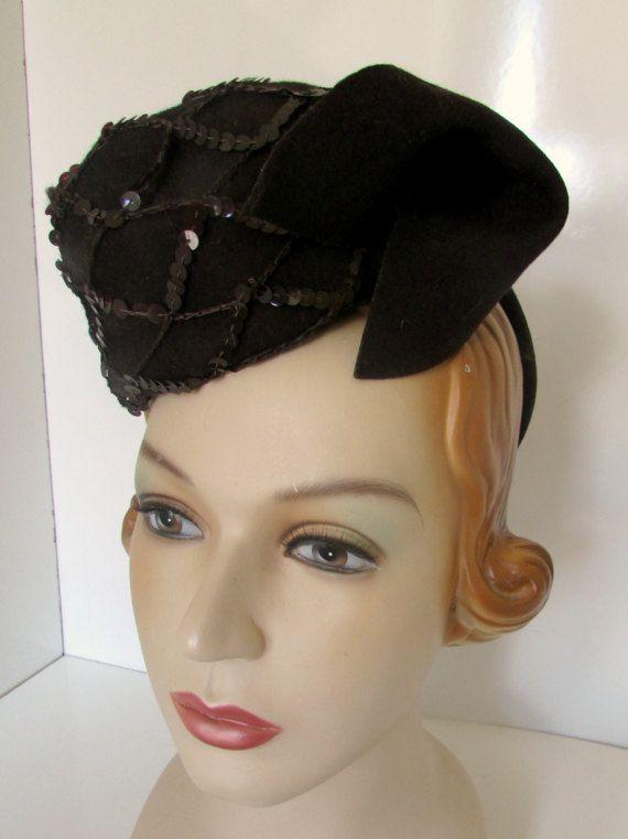 86289bb6cf60e Vintage Tilt Hat 1940s WWII era Min Hat Brown Felt Sequins Avant Garde