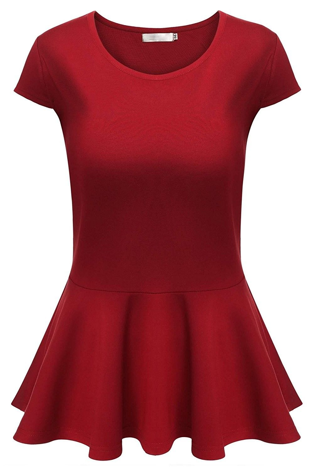 15f74c1b Women's Cap Sleeve Stretchy Flare Bottom Fitted Peplum Blouse Tops - Red -  C8184ROA3RE,Women's Clothing, Tops & Tees, Blouses & Button-Down Shirts # women ...