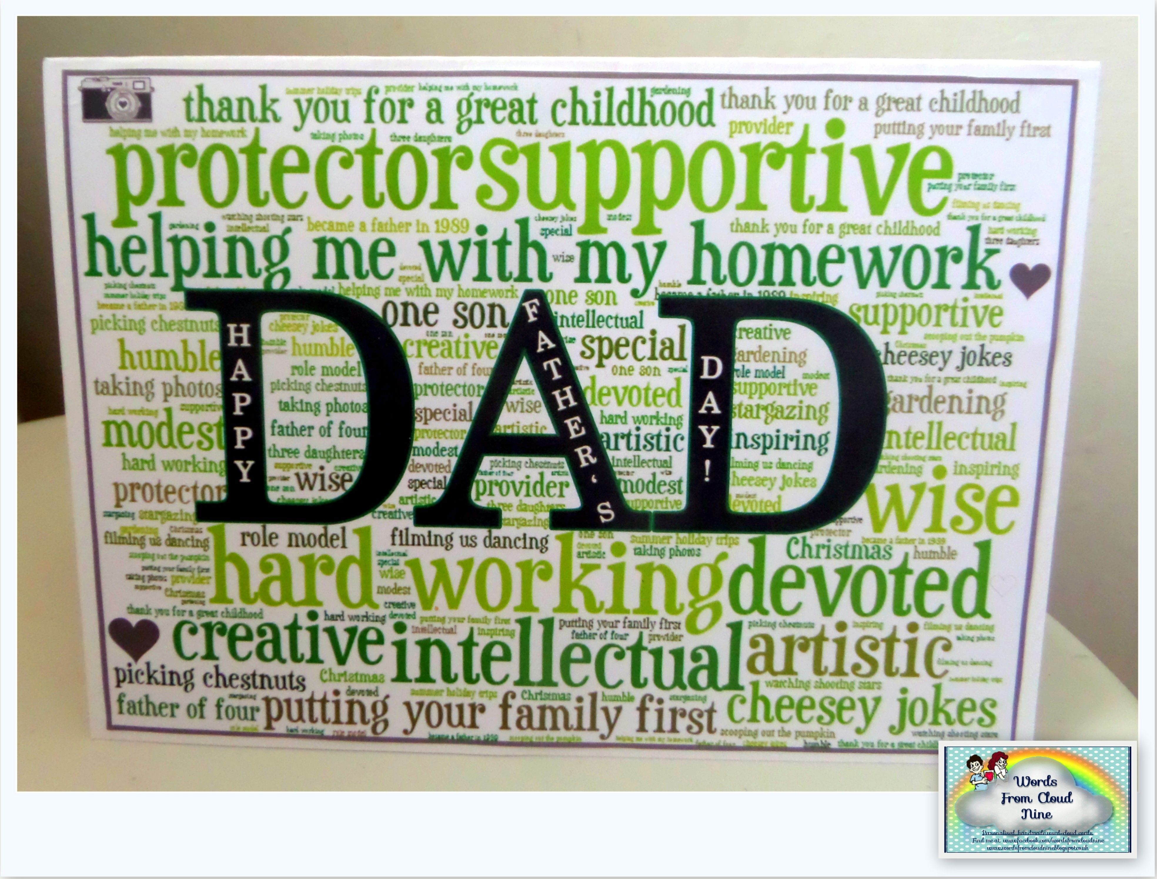 hand made father s day word art card words from cloud nine