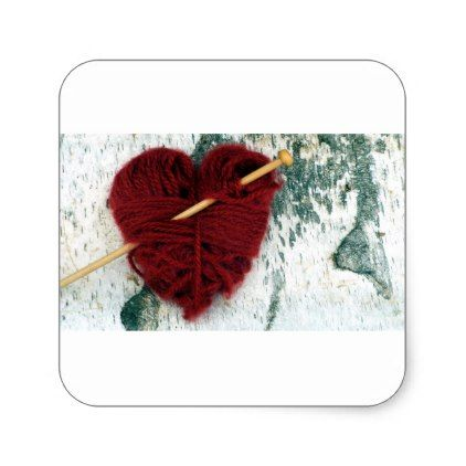 Red wool heart on birch bark photograph square sticker