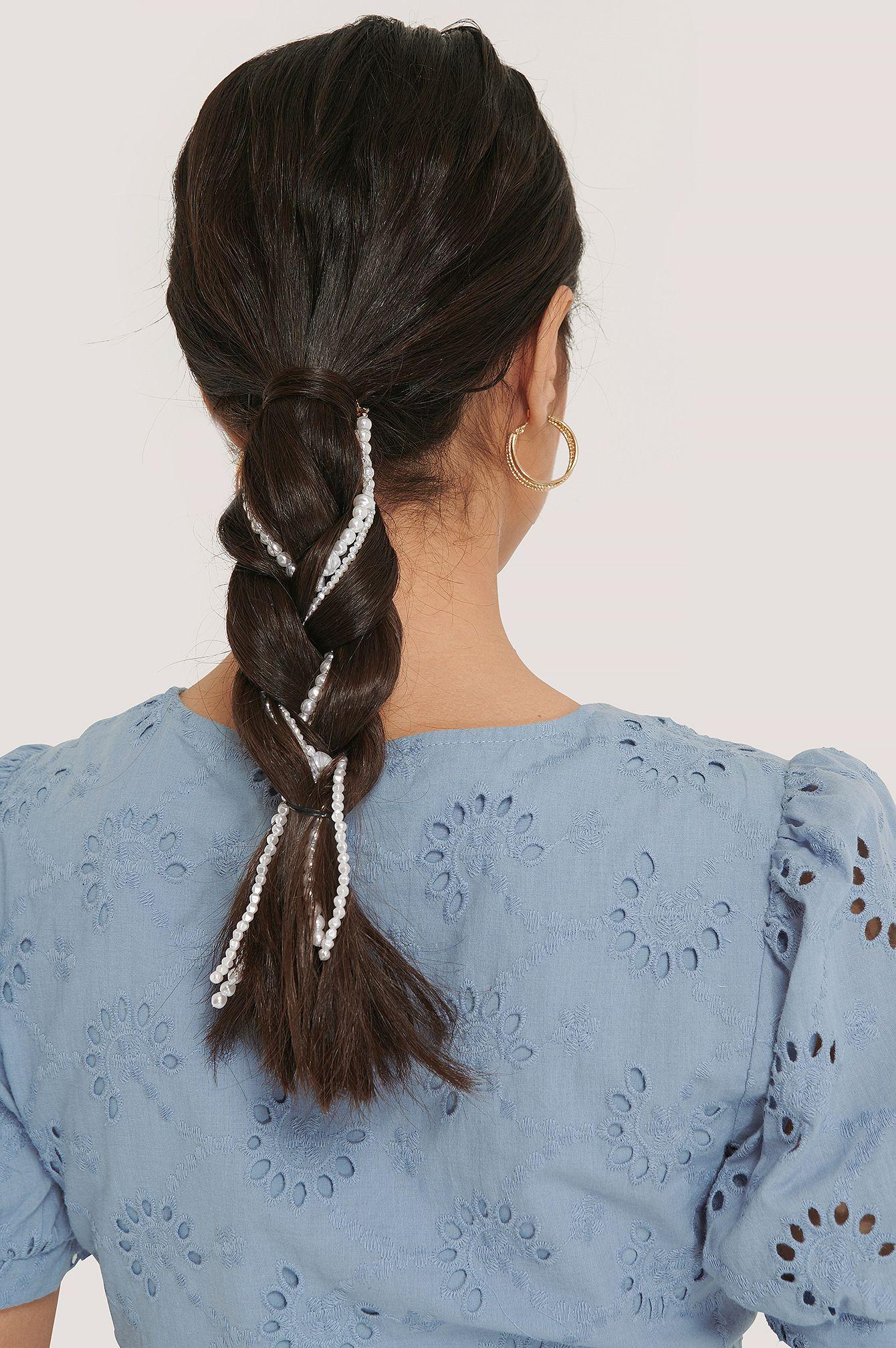 3-pack Beaded Hair Jewellery Weiß