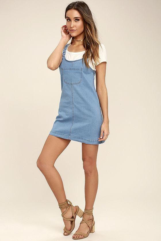 ff146a6059 Lulus - Lulus Hopscotch Champion Blue Denim Pinafore Dress - AdoreWe.com