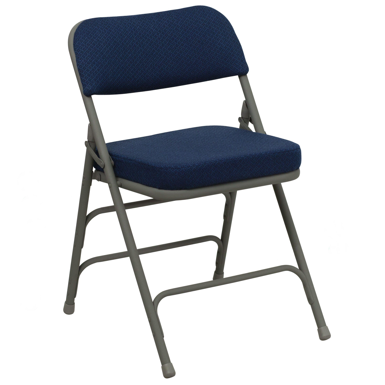 Metal Folding Chair Navy Color Fabric Heavy Duty Triple Braced /& Quad Hinged
