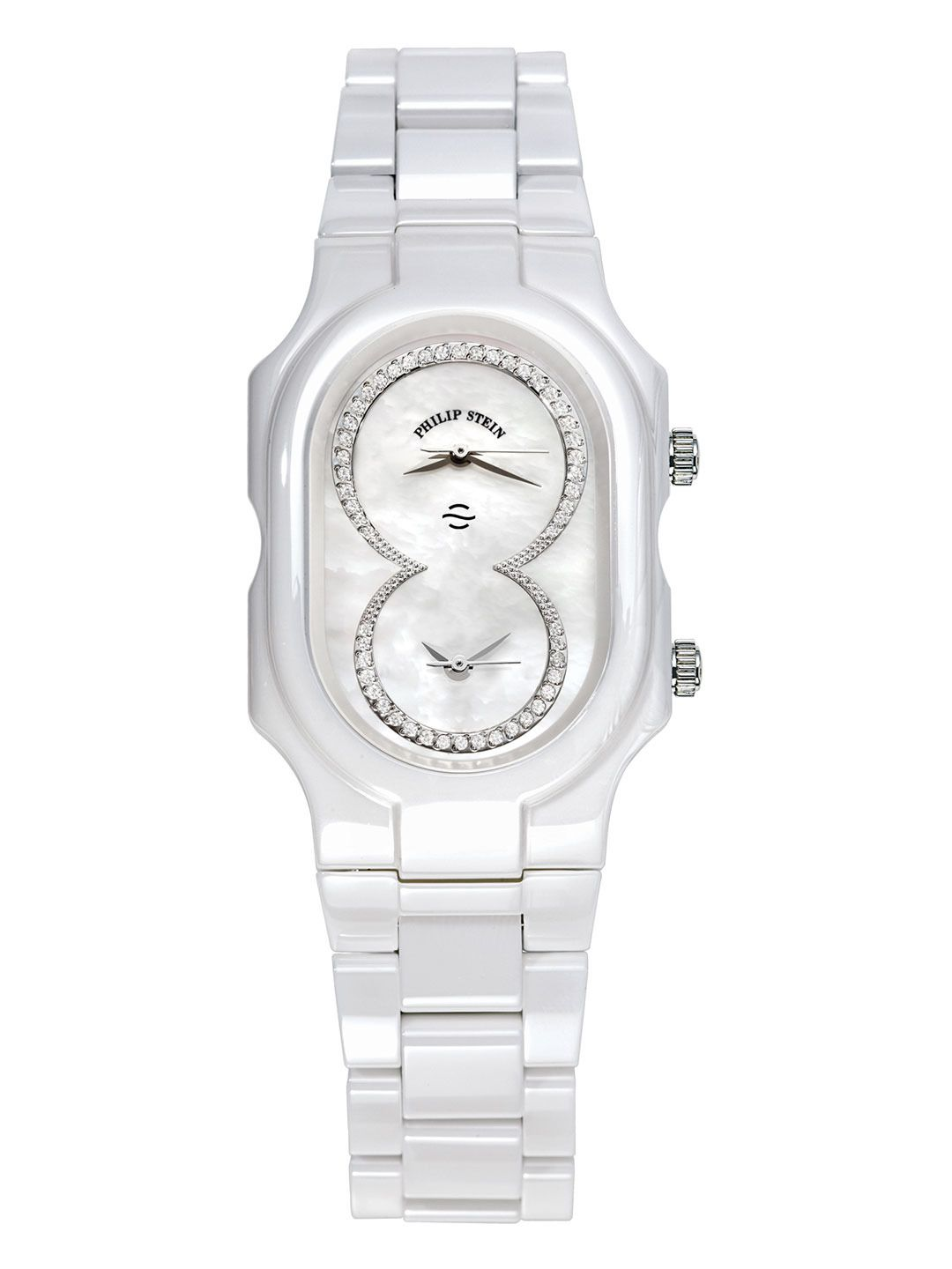 Women's White Ceramic, Diamond, & Mother Of Pearl Watch by Philip Stein at Gilt