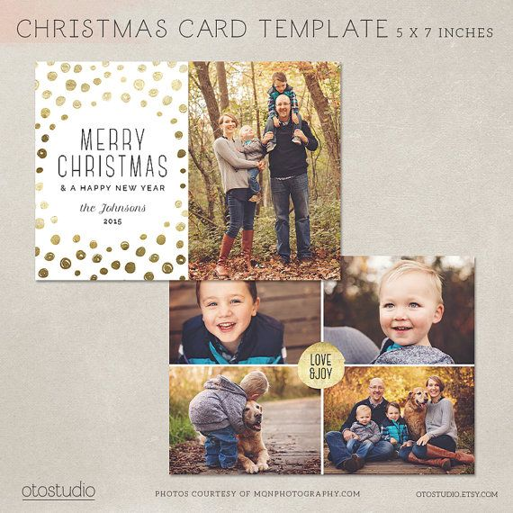 Digital Photoshop Christmas Card Template For Photographers Psd Flat Card Gold Dots Cc081 Christmas Card Template Digital Christmas Cards Photoshop Christmas Card Template