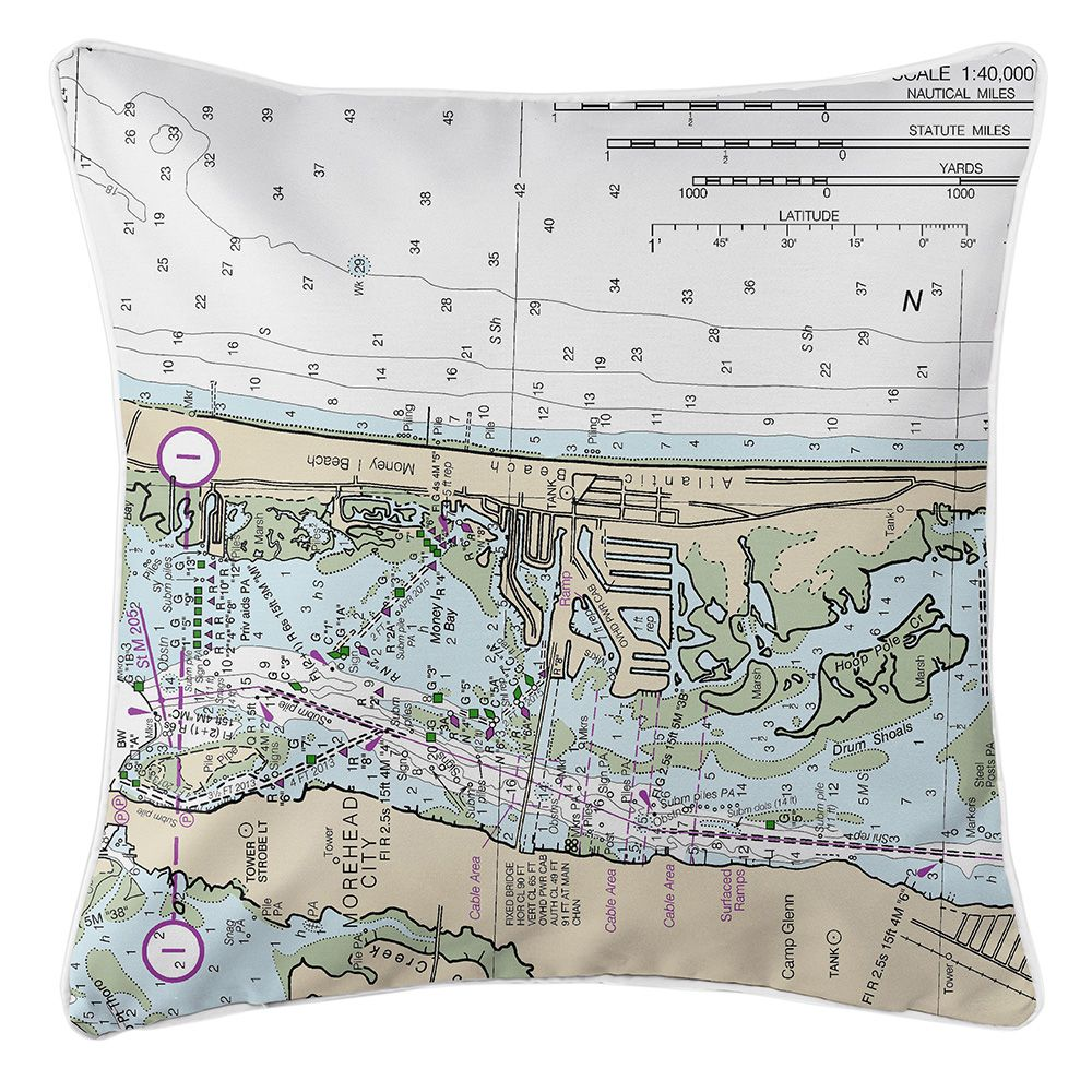 Nc Atlantic Beach Nc Nautical Chart Pillow Atlantic Beach Nc
