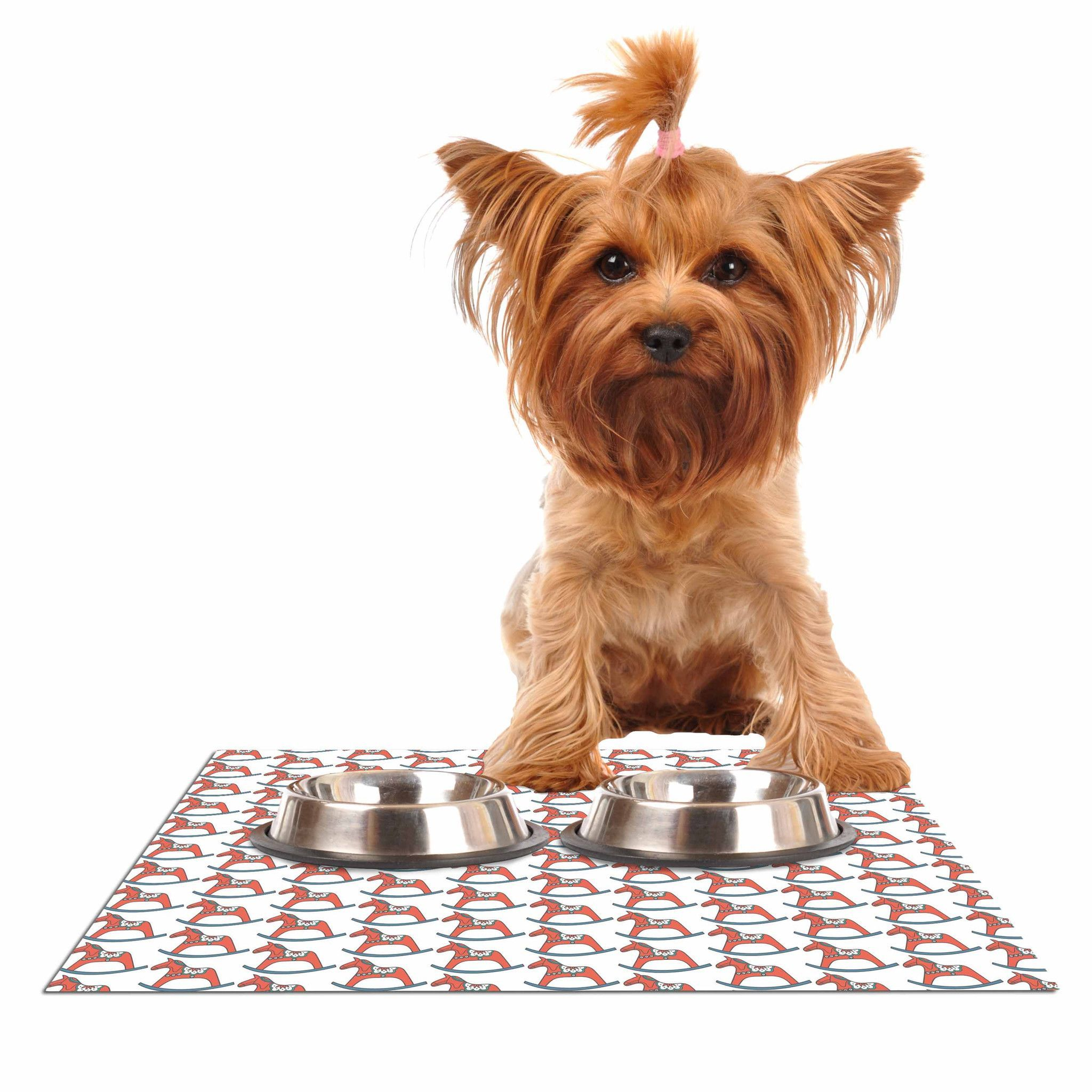 """Petit Griffin """"Dala Horse"""" Red White Dog Place Mat"""