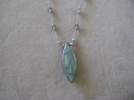 Knotted Silk Necklace Labradorite Marquise by SleepingCatDesigns