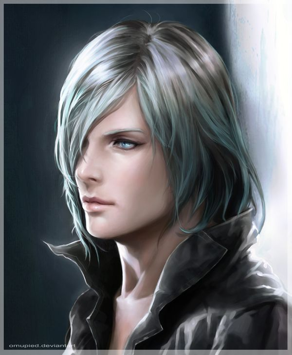 Sin By Omupied On Deviantart Drawn Cute Guy White Hair Blue
