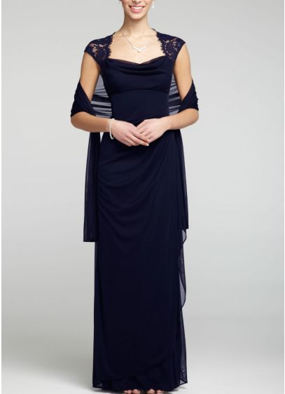 Cap Sleeve Long Jersey Dress with Lace Detail XS2195   Fashion Stuff     Cap Sleeve Long Jersey Dress with Lace Detail XS2195