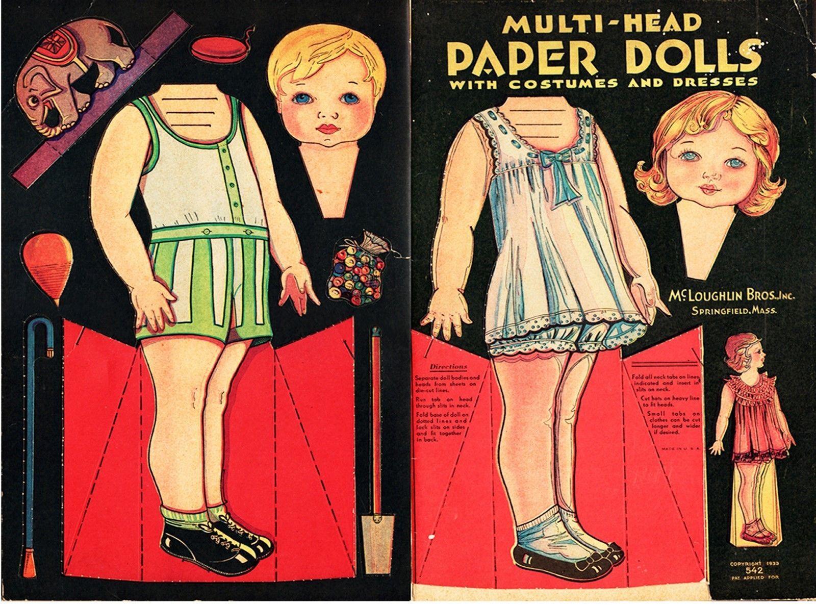 Antique Original Uncut 1933 Multi Head Paper Dolls MC Loughlin Bros Inc | eBay